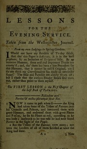 Cover of: Lessons for the evening service. Taken from the Westminster Journal