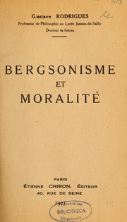 Cover of: Bergsonisme et moralité