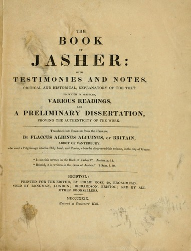 The Book of Jasher by Jacob Ilive