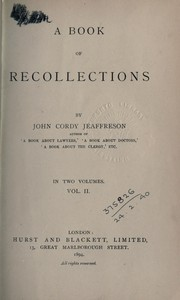 Cover of: A book or recollections | John Cordy Jeaffreson
