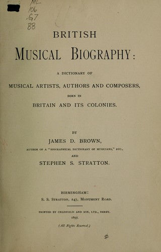 British musical biography by Brown, James Duff