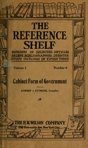 Cover of: Cabinet form of government
