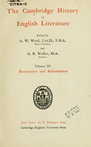 Cover of: The Cambridge history of English literature | Ward, Adolphus William Sir