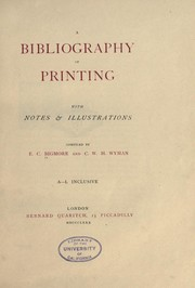 Cover of: A bibliography of printing (Vol. 1) |
