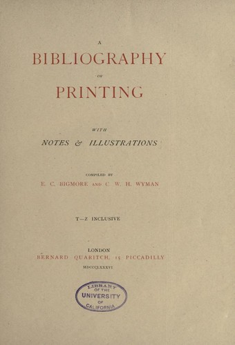 A bibliography of printing (Vol. 3) by
