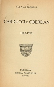 Cover of: Carducci e Oberdan