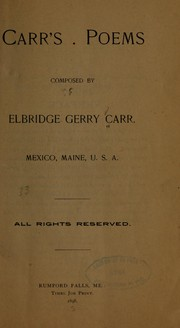 Cover of: Carr's poems