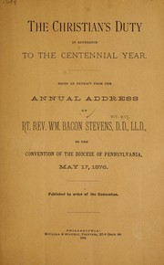 Cover of: The Christian's duty in reference to the centennial year
