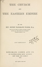 Cover of: The Church and the Eastern Empire