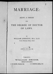 Cover of: Marriage, being a thesis for the degree of Doctor of Laws