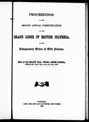 Cover of: Proceedings of the second annual communication of the Independent Order of Odd Fellows |