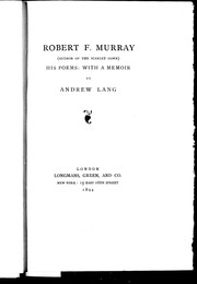 Cover of: Robert F. Murray (author of The scarlet gown): his poems