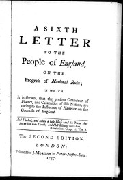 Cover of: A sixth letter to the people of England
