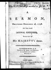 Cover of: A sermon delivered December 2d, 1798 on the late signal successes granted to His Majesty