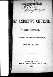 Cover of: Constitution of St. Andrew's Church, Kingston