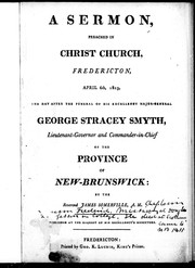 Cover of: A sermon preached in Christ Church, Fredericton, April 6th, 1823