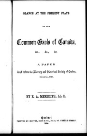 Cover of: Glance at the present state of common goals of Canada