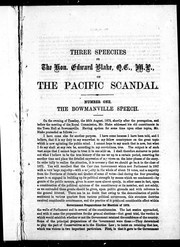 Cover of: Three speeches on the Pacific Scandal