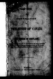 Brief notes on the relation of the Synod of Canada to the Church of Scotland