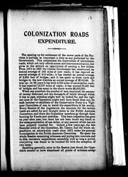 Cover of: Colonization roads expenditure |
