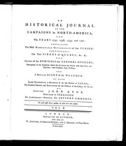 An historical journal of the campaigns in North America for the years 1757, 1758, 1759 and 1760 by John Knox