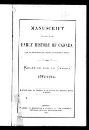 Cover of: Manuscript relating to the early history of Canada (from the archives of the Literary and Historical Society)