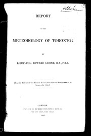 Cover of: Report on the meteorology of Toronto