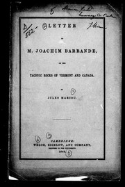 Cover of: Letter to M. Joachim Barrande, on the Taconic rocks of Vermont and Canada