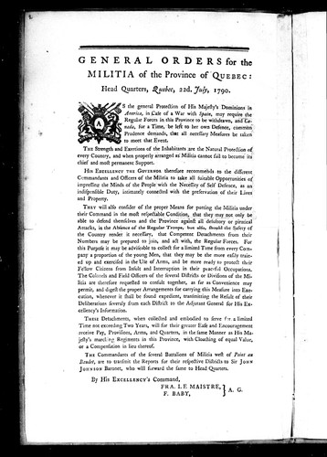 General orders for the militia of the province of Quebec by Carleton, Guy Sir