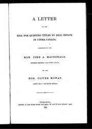 Cover of: A letter on the bill for quieting titles to real estate in Upper Canada