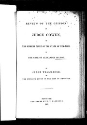Cover of: Review of the opinion of Judge Cowen of the Supreme Court of the state of New York, in the case of Alexander McLeod