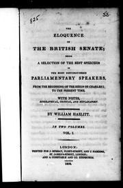 Cover of: The Eloquence of the British Senate