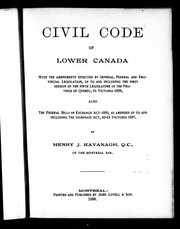 Civil code of Lower Canada by Québec (Province)