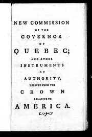 Cover of: New commission of the governor of Quebec