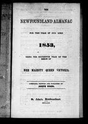 Cover of: The Newfoundland almanac, for the year of Our Lord 1853