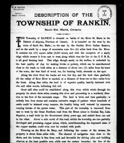 Cover of: Description of the township of Rankin, Sault Ste. Marie, Ontario |