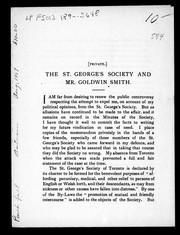 Cover of: The St. George's Society and Mr. Goldwin Smith