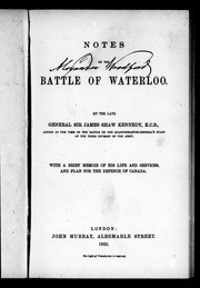 Cover of: Notes on the battle of Waterloo | Kennedy, James Shaw Sir