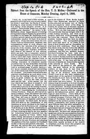 Cover of: Extract from the speech of the Hon. T.D. McGee: delivered in the House of Commons, Monday evening, April 6, 1868