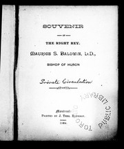 Cover of: Souvenir of the Right Rev. Maurice S. Baldwin, D.D., Bishop of Huron |