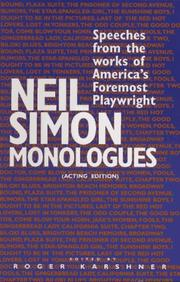 Cover of: Neil Simon monologues: speeches from the works of America's foremost playwright