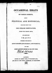 Cover of: Occasional essays on various subjects, chiefly political and historical | Maseres, Francis