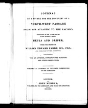Cover of: Journal of a voyage for the discovery of a North-West passage from the Atlantic to the Pacific