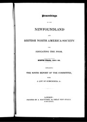 Cover of: Proceedings of the Newfoundland and British North America Society for Educating the Poor