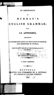 Cover of: An abridgment of Murray's English grammar