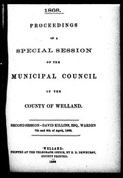 Cover of: Proceedings of a special session of the Municipal Council of the County of Welland