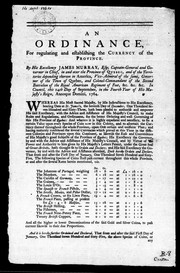 Cover of: An Ordinance for regulating and establishing the currency of the province