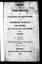 Cover of: Report of the trials of Charles de Reinhard and Archibald M