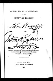 Cover of: Memoranda of a residence at the court of London | Richard Rush