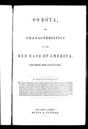 Cover of: Onéota, or, Characteristics of the red race of America